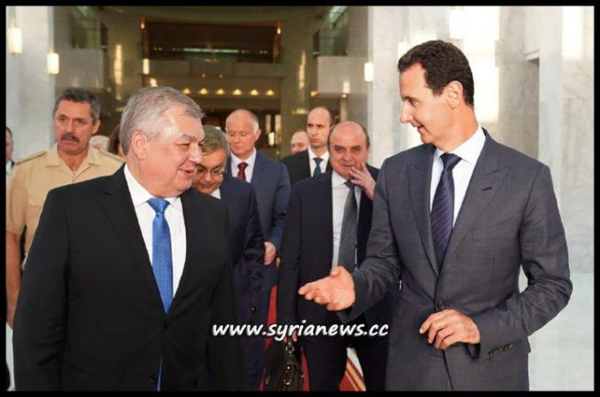 Syrian President Bashar Assad Receives Russian President Putin Special Envoy to Syria Alexander Lavrentiev