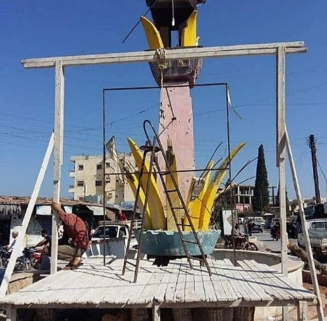 Mistura's & the 'tripartite aggressors' al-Qaeda gangs kidnapped 100s of men in Idlib on suspicion of them wanting Reconciliation. The foreign criminals built this hanging scaffold for them.