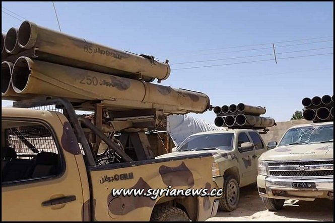 SAA Syrian Arab Army Forces - Syrian Golan Grad Missile Launcher Mounted on Pickup Trucks