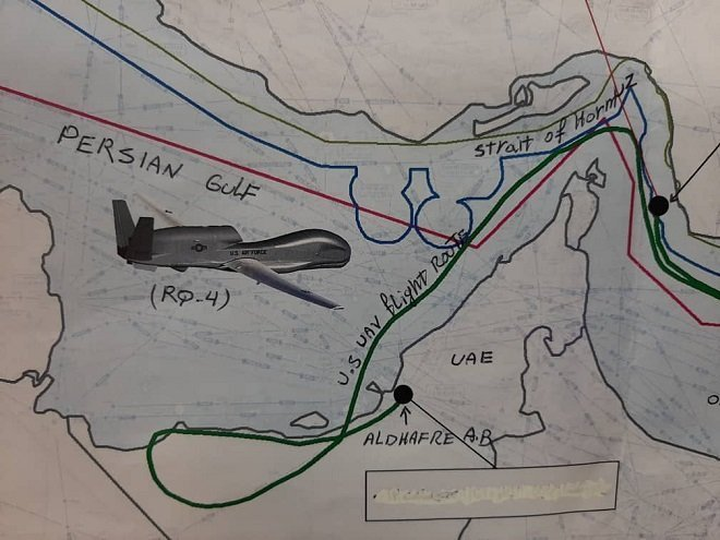 Path of the US drone shot down by Iran