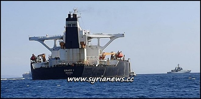 Panama registered Grace 1 oil tanker carrying crude oil en route to Syria seized by Britain Pirates near occupied Gibraltar