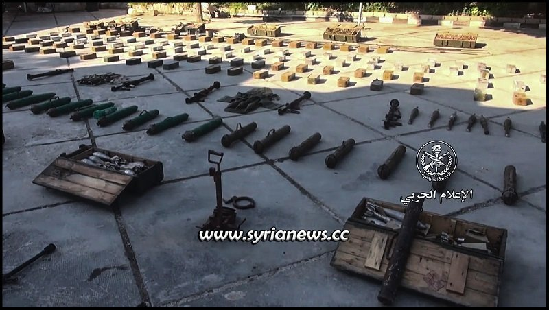 weapons and munition left by terrorists found in Qalamon Damascus Countryside