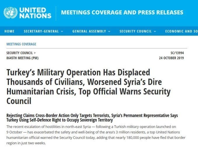 United Nations Meeting Coverage headline belied the actual support for Turkey's new war crimes against Syria, by various members