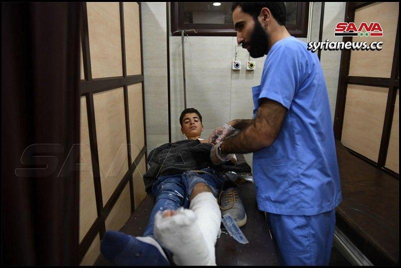 Child injured by Erdogan terrorists bombing of Aleppo