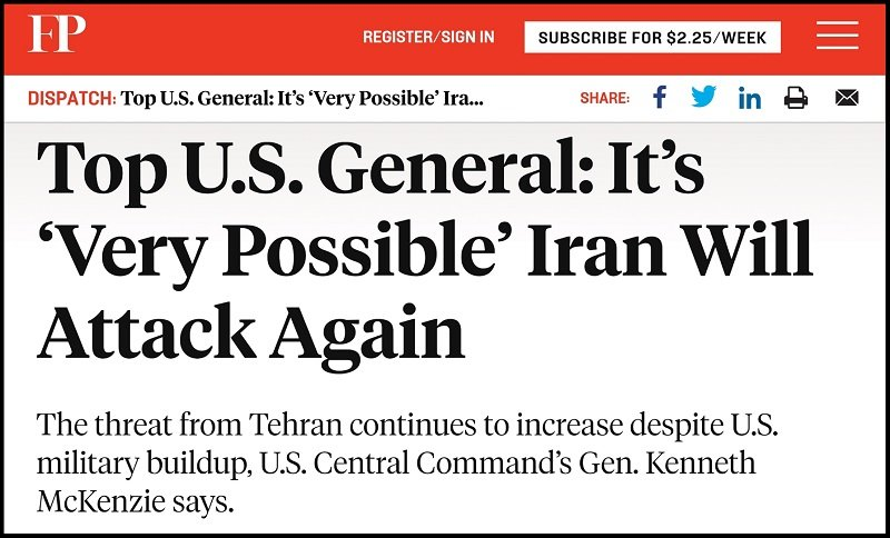 US Top General McKenzie Warmongering about Iran
