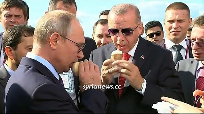 Erdogan licking ice cream Mr. Putin bought him