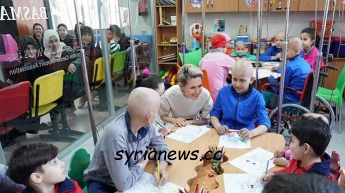 Syria first lady Asmaa Assad visit al-Biruni cancer treatment hospital
