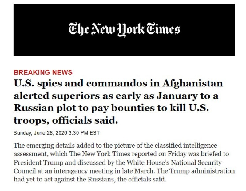 The New York Times Russia bounty to Afghan fighters to kill US troops
