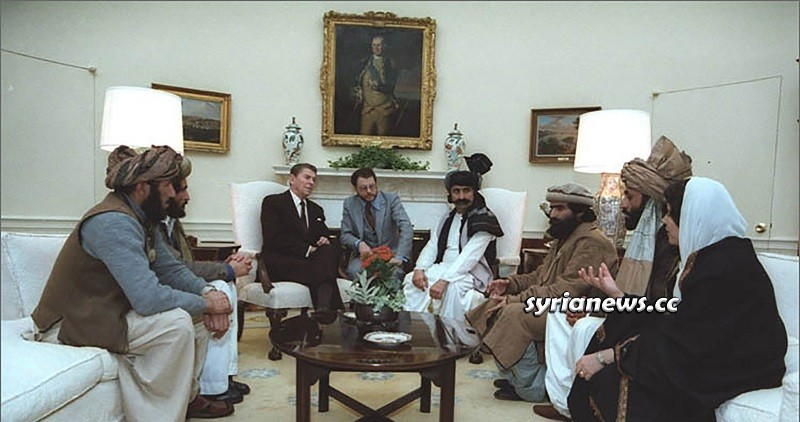 US President Ronald Reagan with Afghanistan Mujahideen plotting to kill Soviet Troops