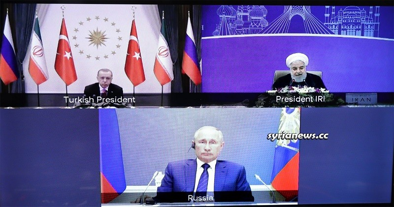 Russian Putin Iranian Rouhani Turkish Erdogan - Video conference on Syria