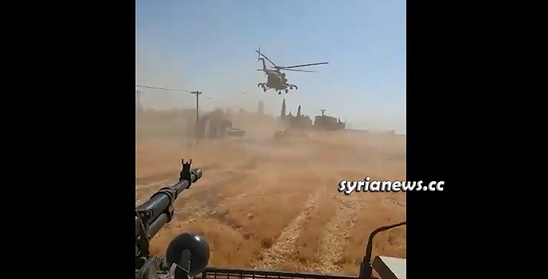 Russian helicopter dusts away Trump forces convoy northeast of Syria