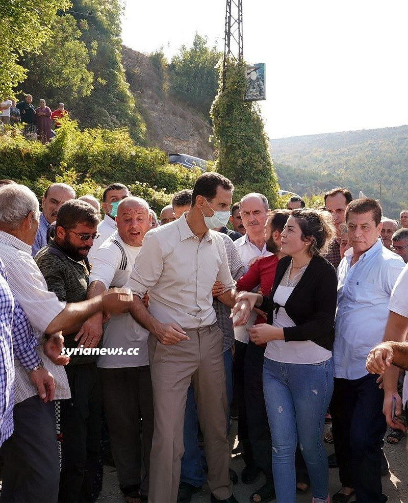 President Assad among the locals in Latakia countryside