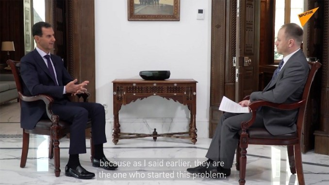 President Bashar Assad interview with Russian Sputnik