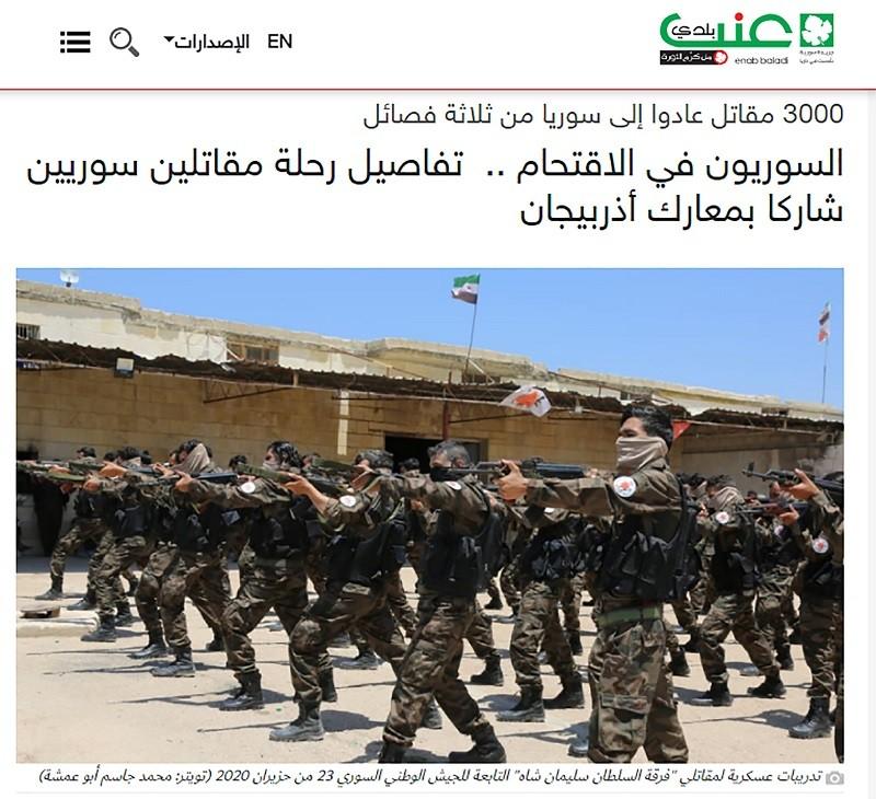 Terrorists 'media' reporting on Syrian mercenaries sent by Erdogan to Nagorno Karabakh