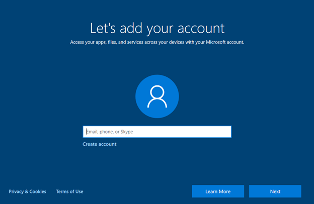 Windows 10 Setup: Let's Add Your Account