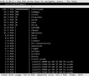 espacio usado en /usr/lib/firmware