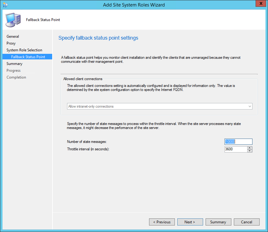 sccm 2012 install fallback status point