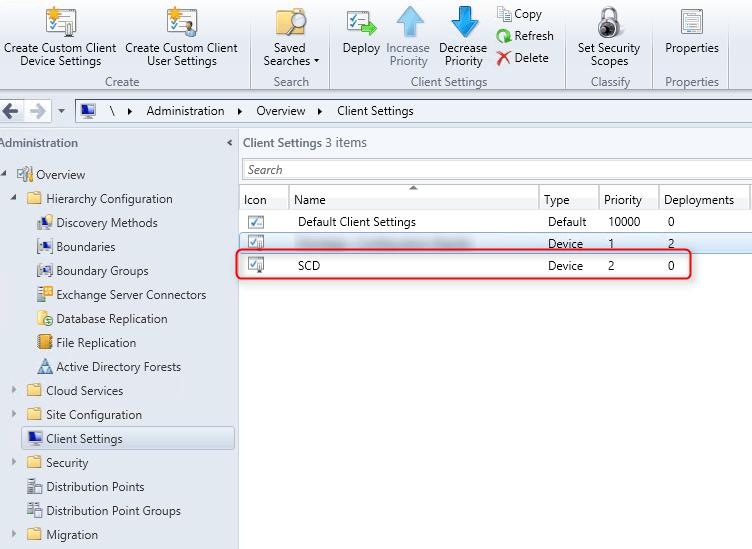 SCCM 2012 client settings