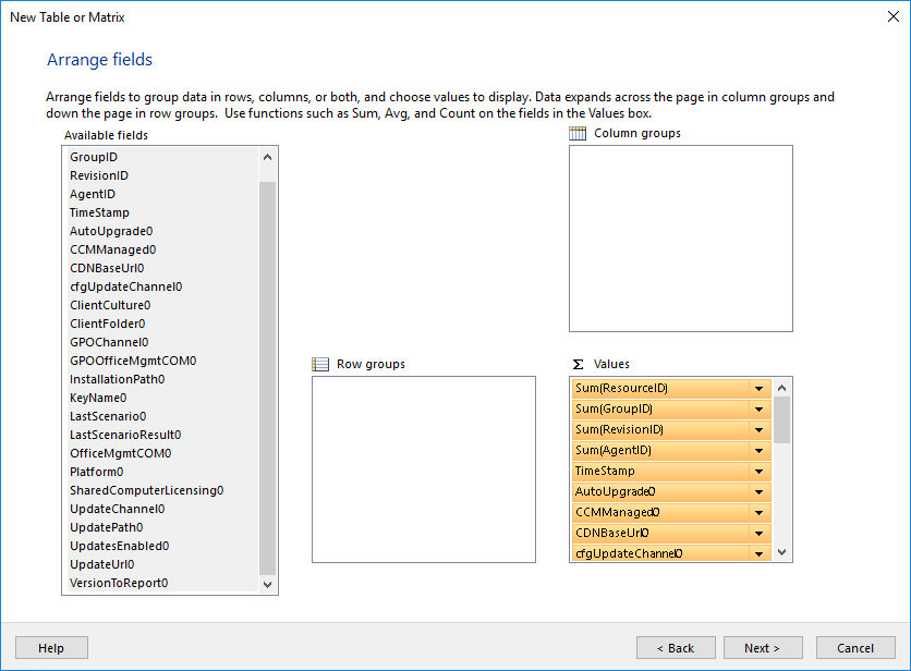SCCM Report Creation
