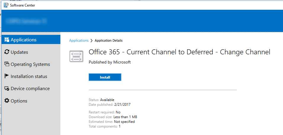 SCCM Office 365 Switch Channel