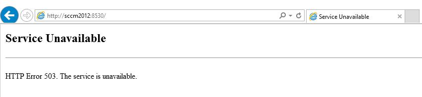 SCCM HTTP Error 503
