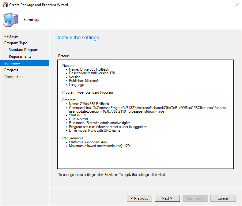 SCCM Office specific version installation