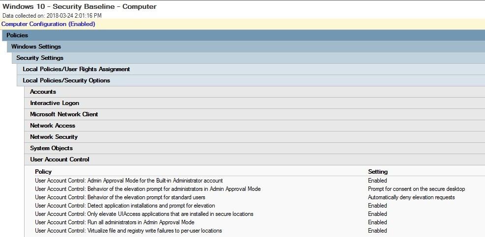 Windows 10 Security baseline