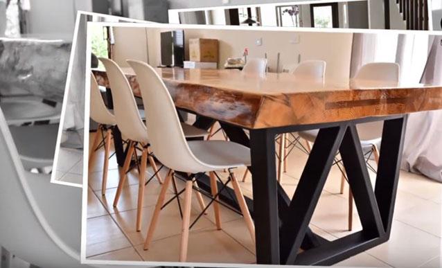 une table pietement metal et plateau bois