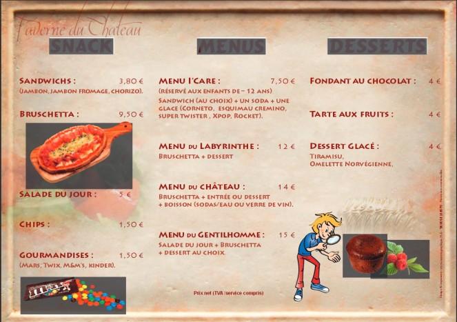 menu taverne