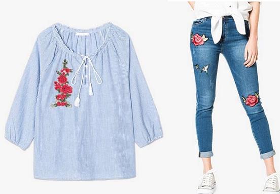 jean blouse broderie gemo