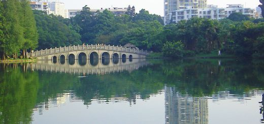 lake and bridge in sihai park shekou nanshan shenzhen