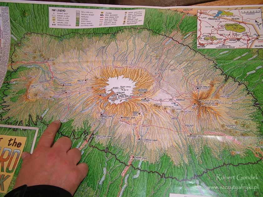 Koszt wejścia na Kilimandżaro - mapa Kilimandżaro