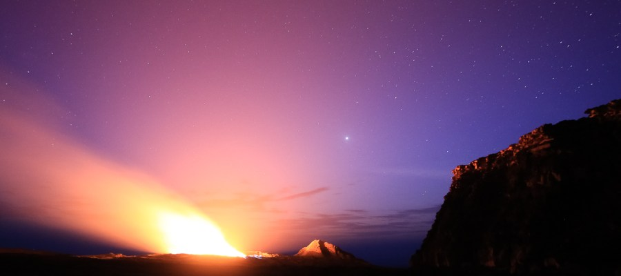 Wulkan Erta Ale i gwiazdy