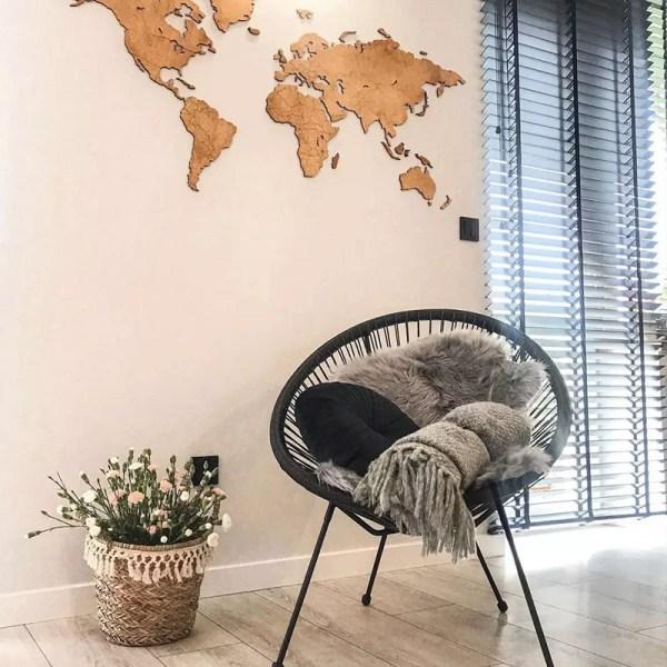 Drewniana mapa świata 3d na ścianę z granicami