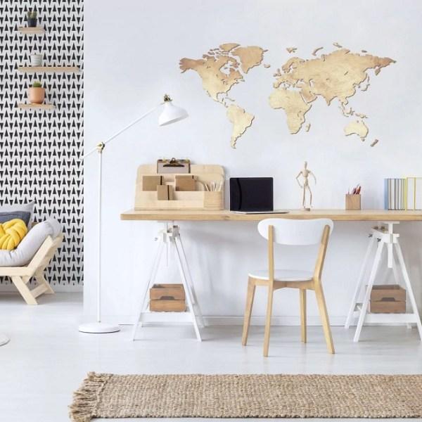 Drewniana mapa świata na ścianę z granicami państw