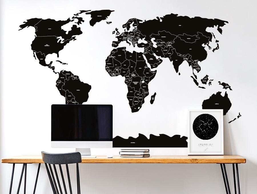 Czarna mapa na ścianę naklejka firmy Pastelowe Love