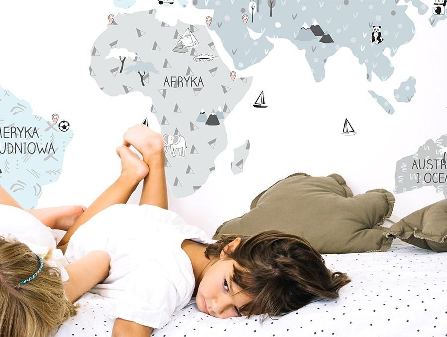 Eco mapa edukacyjna na ścianę naklejka firmy Pastelowe Love