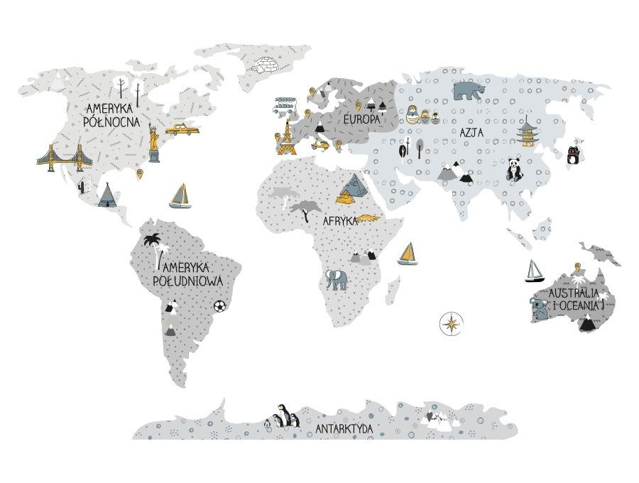 Mapa edukacyjna świata naklejka na ścianę szary kolor