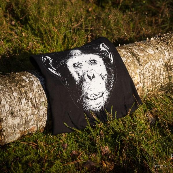 Męska czarna koszulka z szympansem