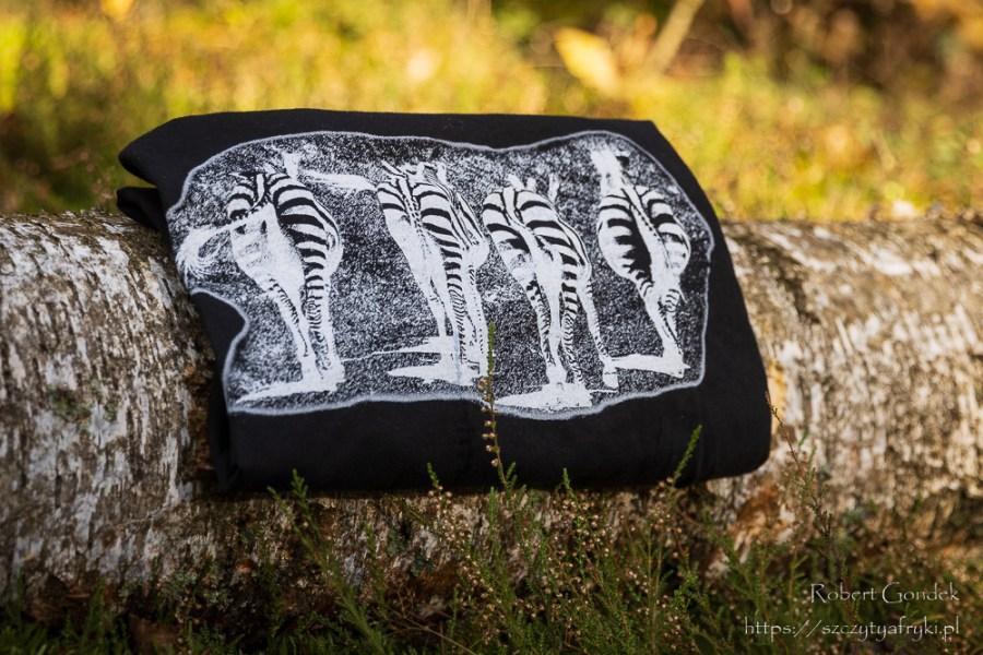 Męski czarny t-shirt z zebrami