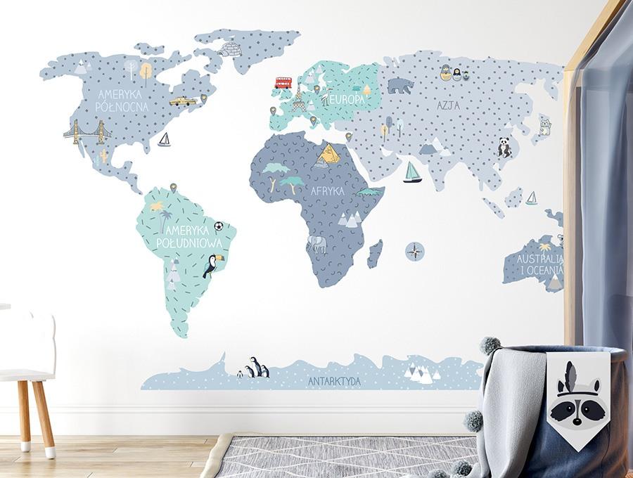 Niebieska mapa edukacyjna świata - Pastelowe Love