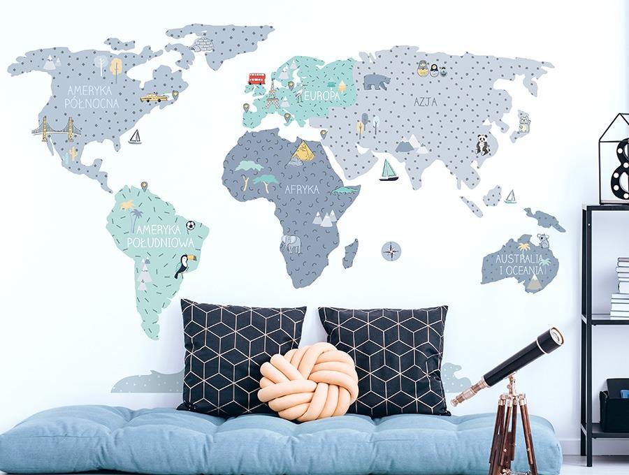 Niebieska mapa naklejka edukacyjna na ścianę - Pastelowe Love