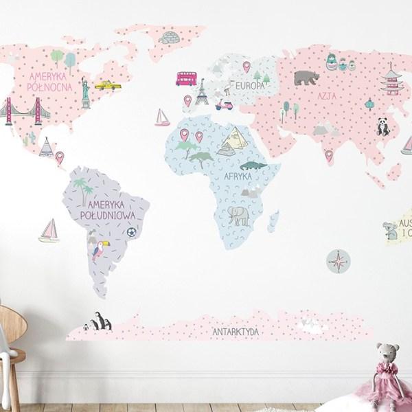 Różowa mapa edukacyjna Pastelowe Love