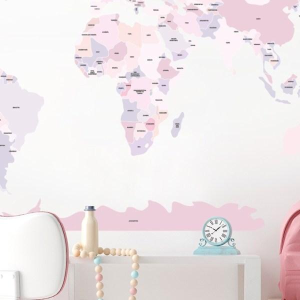 Różowa mapa polityczna Pastelowe Love