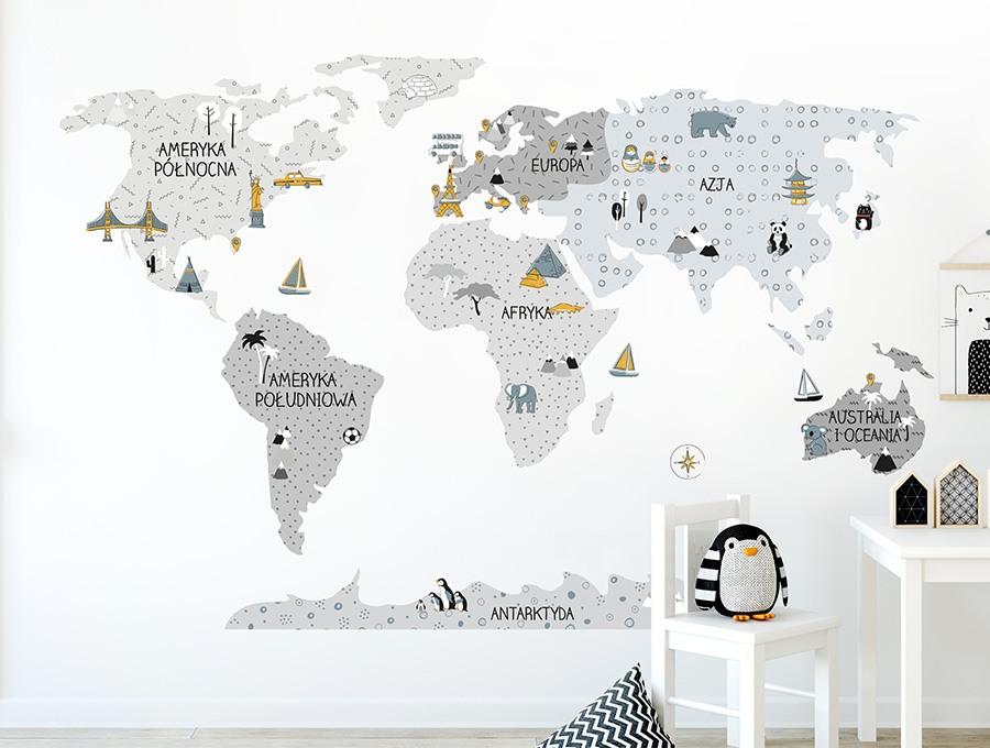 Szara mapa edukacyjna Pastelowe Love