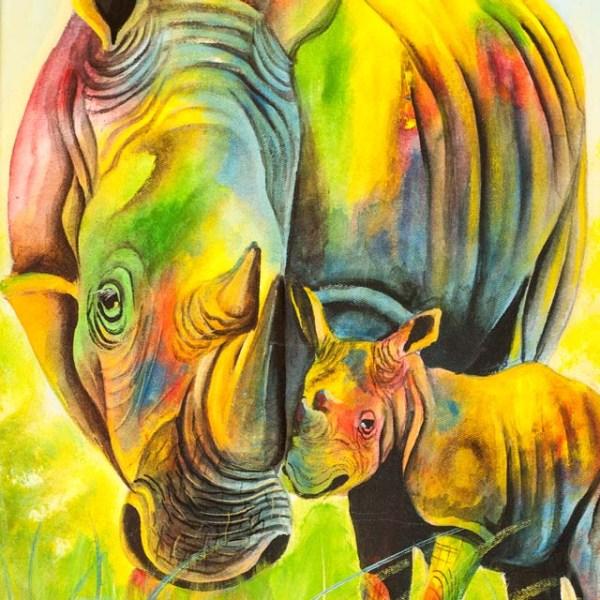 Afrykański obraz na płótnie - kolorowy nosorożec