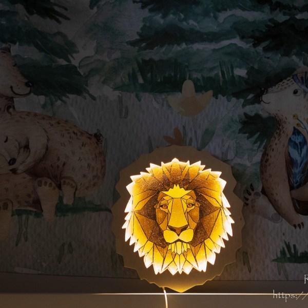 Drewniana lampka głowa lwa - dekoracja do pokoju dziecięcego