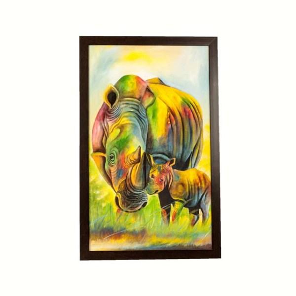 Obraz z Afryki - kolorowy nosorożec