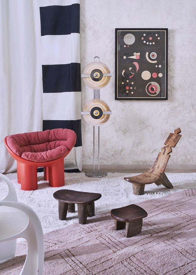 Afrykańska kolekcja wełnianych dywanów - model Shuka Dusty Pink - podłoga w stylu afrykańskim