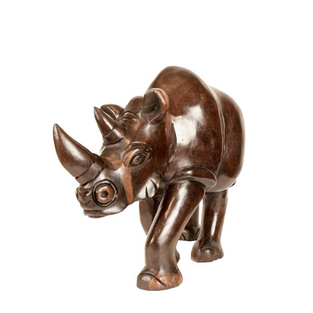 Duży drewniany nosorożec z Afryki w stylu african